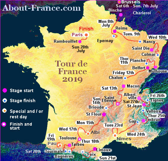 The Tour de France 2019 in English - route and map