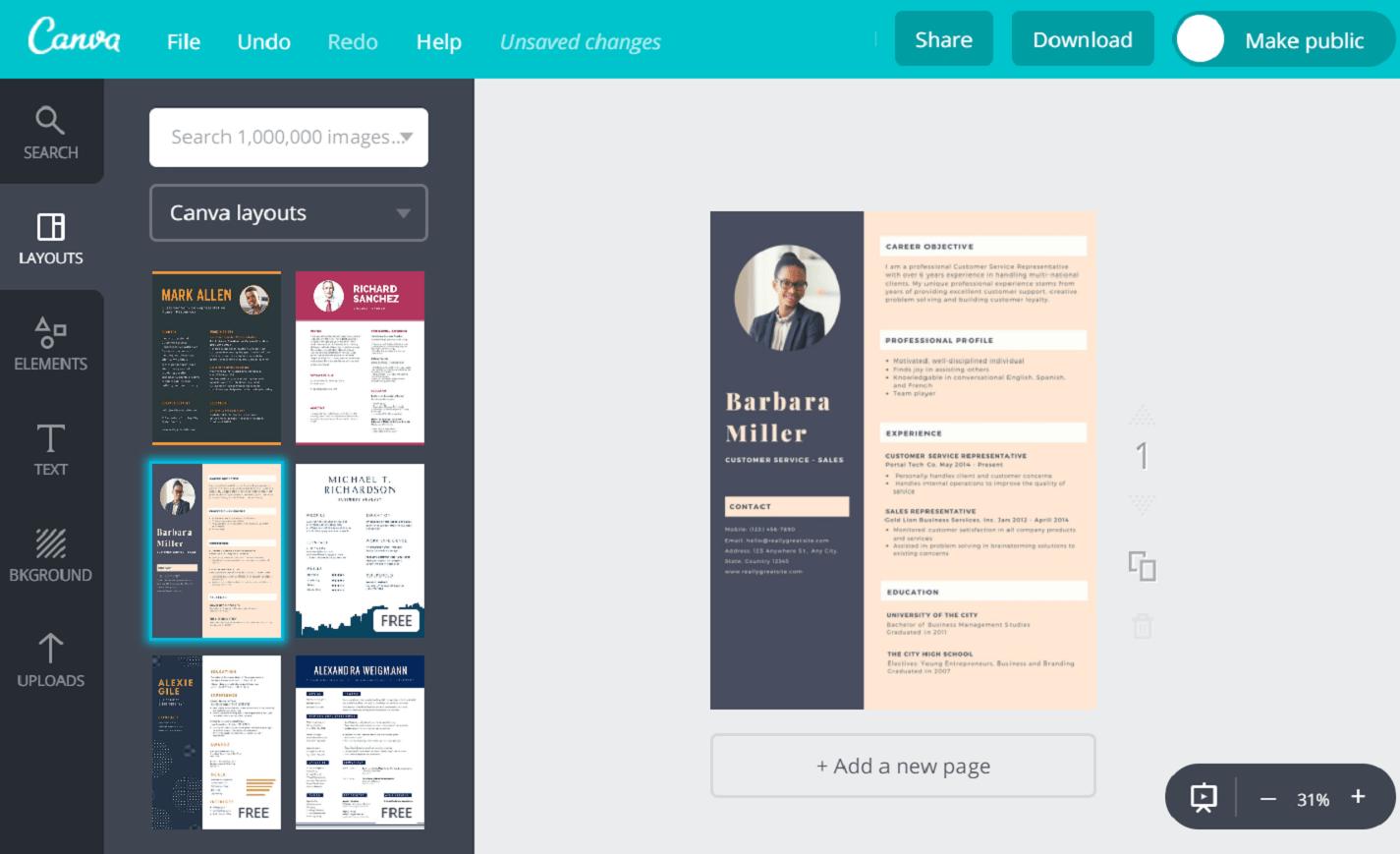 online creative resume maker for freshers