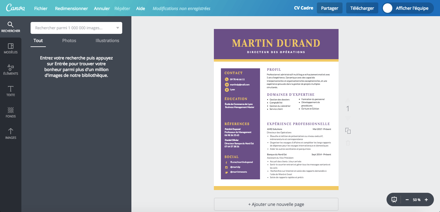 cv informatique canva