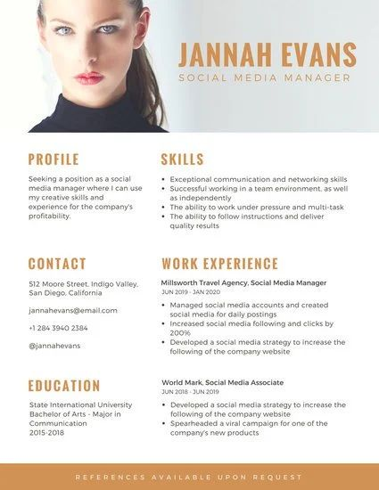 exemple de cv commercial canva