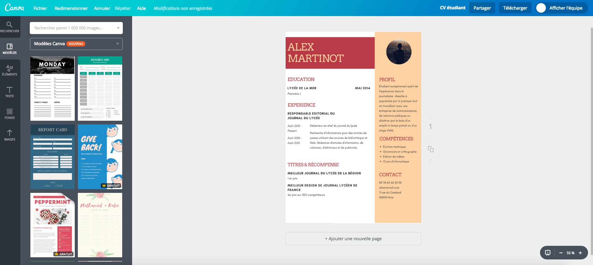 canva faire un cv