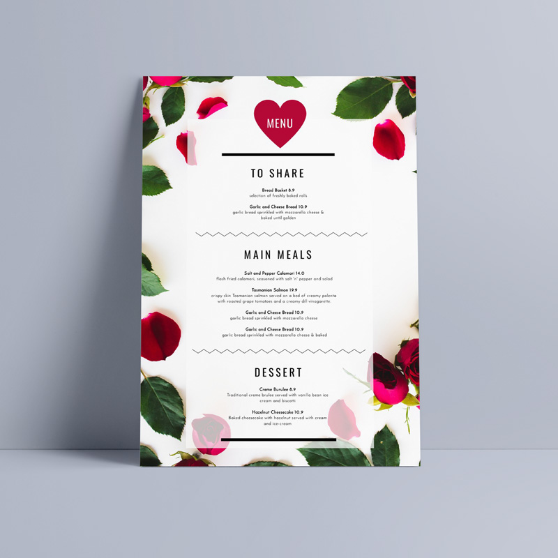 10 Easy Valentine\u0027s Day Promotion Ideas to Woo Your Loyal Customers - valentines day menu template