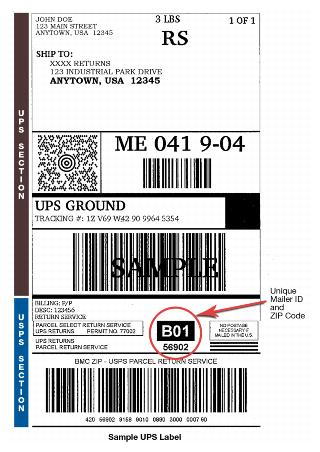 Field Information Kit Ground Shipping Parcel Return Service - Sample Return Address Label