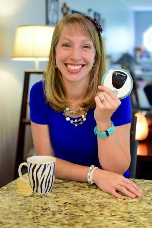 Sarah Osborne with her Lady-Comp fertility monitor.