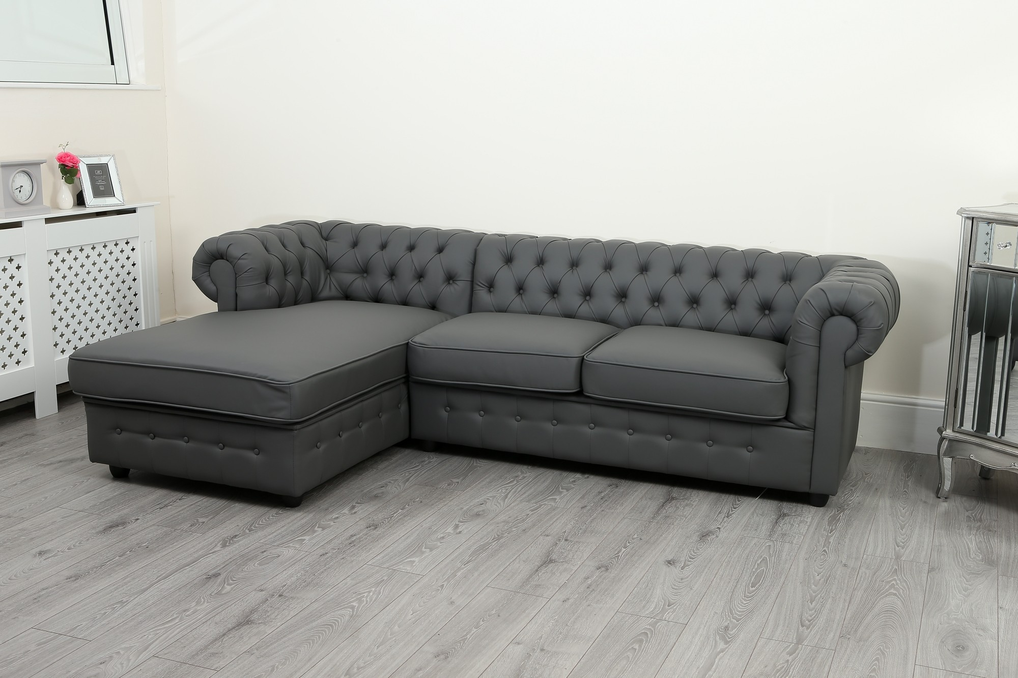 Chesterfield Sofa Empire Chesterfield Corner Sofa In Grey Pu Leather Abreo