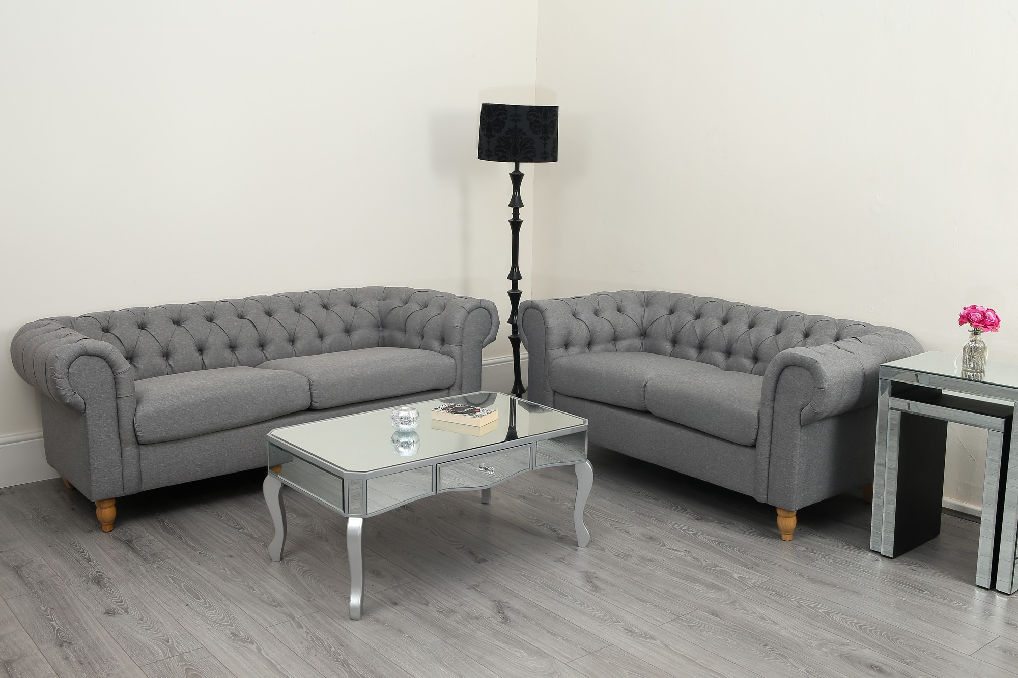 Chesterfield 3+2 Sofa Canterbury Chesterfield Grey Linen Fabric 3 2 Seater Sofa