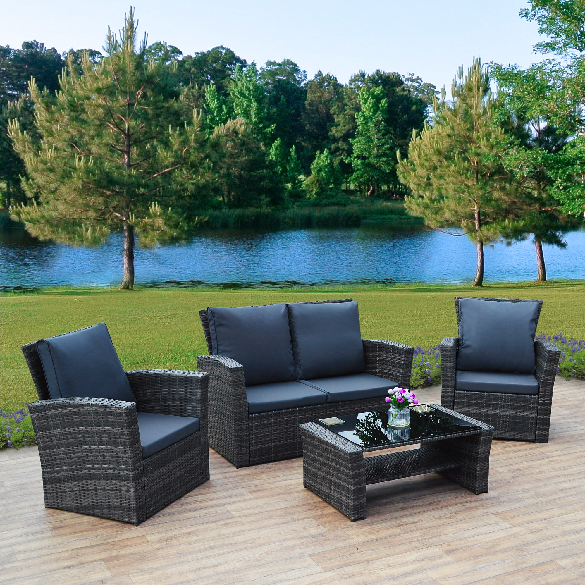 Florence 8 Piece Rattan Sofa Set With Cushions 4 Piece Algarve Rattan Sofa Set For Patios Conservatories