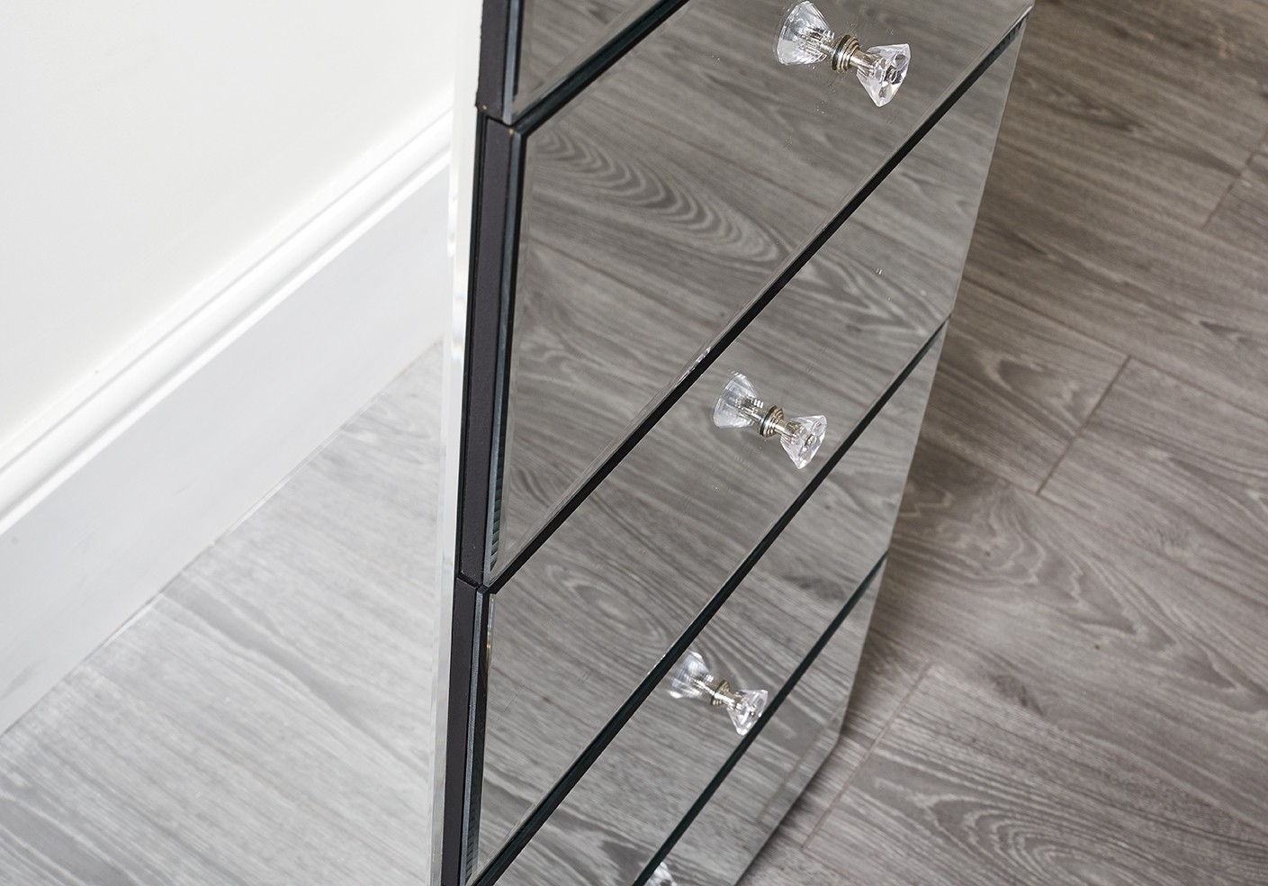 Mirrored Tall Boy Venetian 5 Drawer Tall Boy Abreo Home Furniture