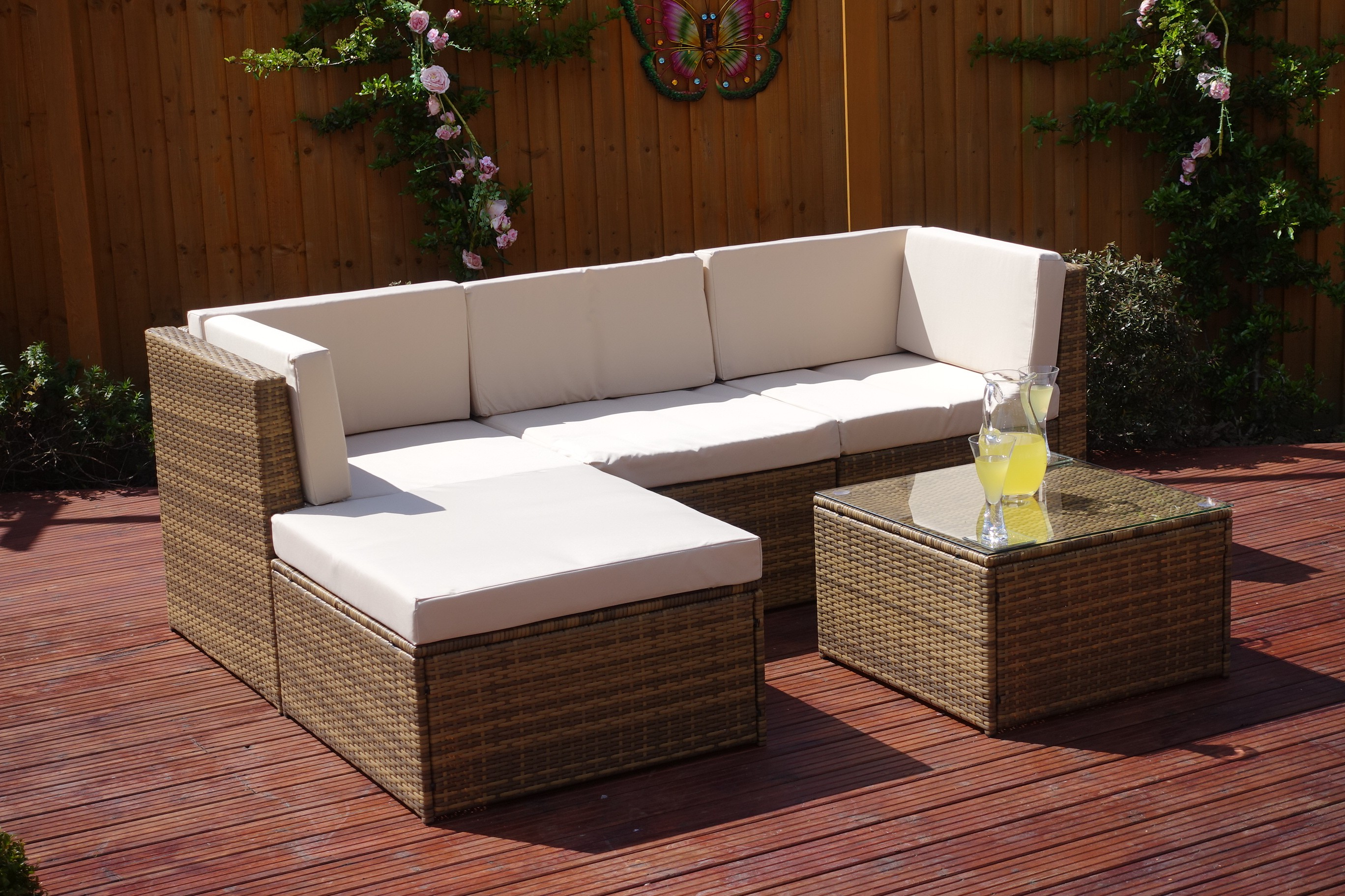 Florence 8 Piece Rattan Sofa Set With Cushions Milano Rattan 5 Piece Corner Sofa In Brown Or Black Abreo