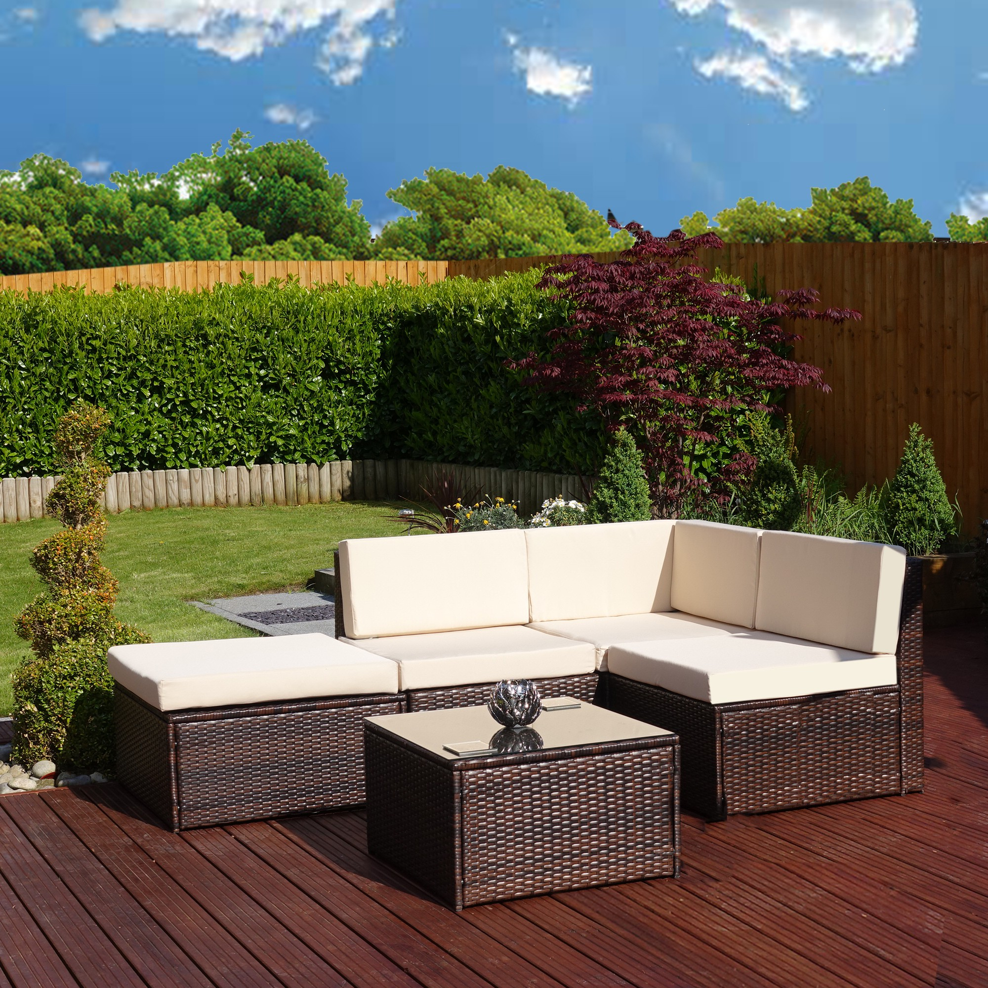 Garden Rattan Sofa Uk Faro 5 Piece Brown Rattan Corner Sofa