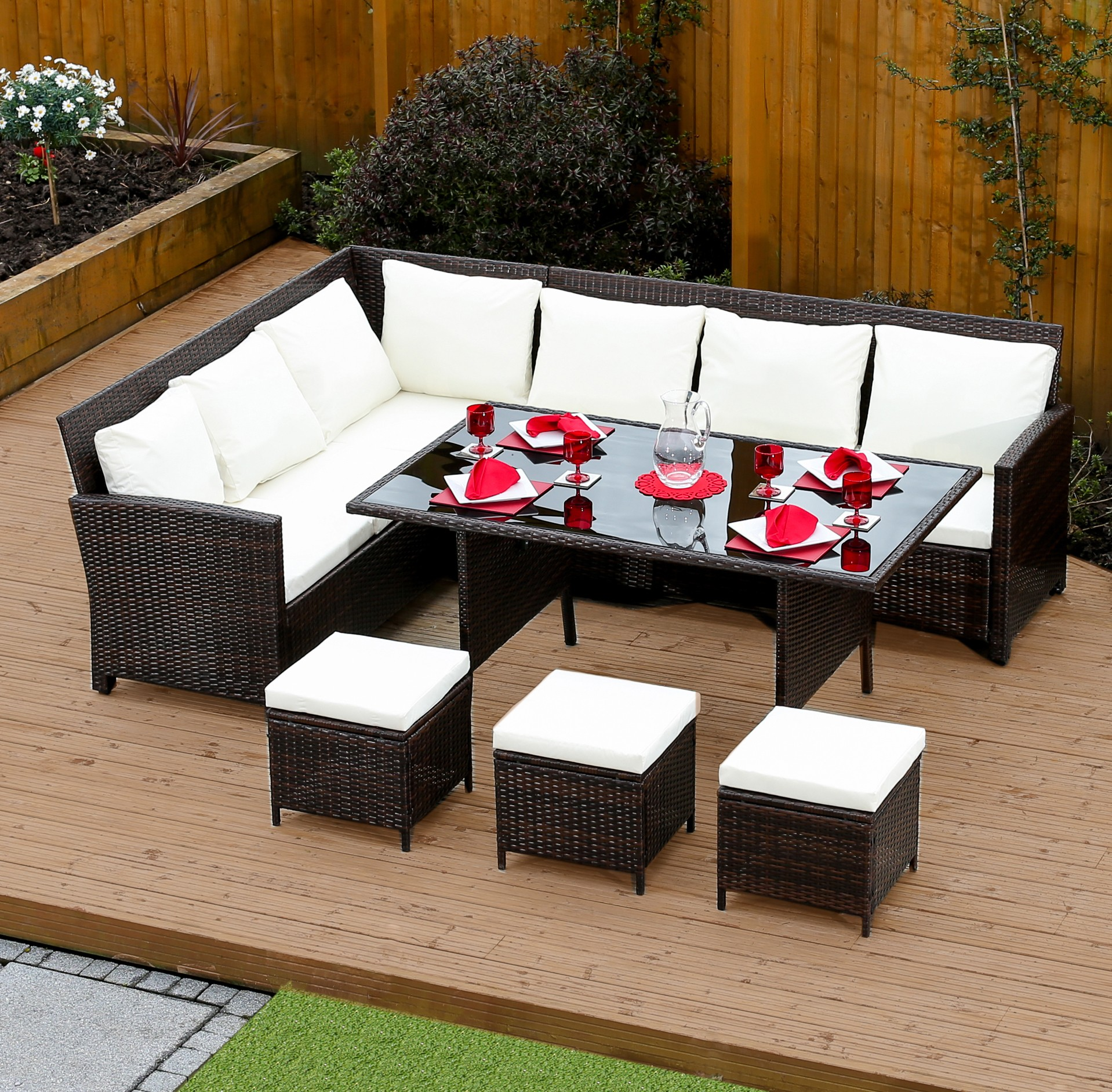 Florence 8 Piece Rattan Sofa Set With Cushions Brown 9 Seat Rattan Corner Dining Set From Abreo Abreo