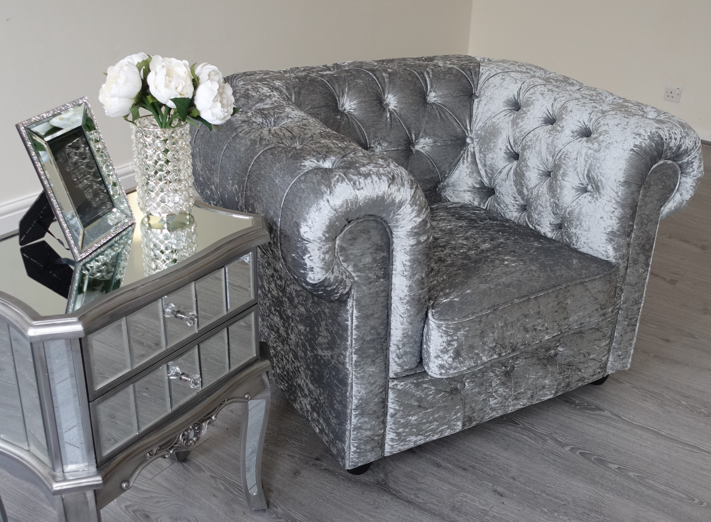 Chesterfield 3+2 Sofa Empire Grey Silver Crushed Velvet Chesterfield Sofa Abreo