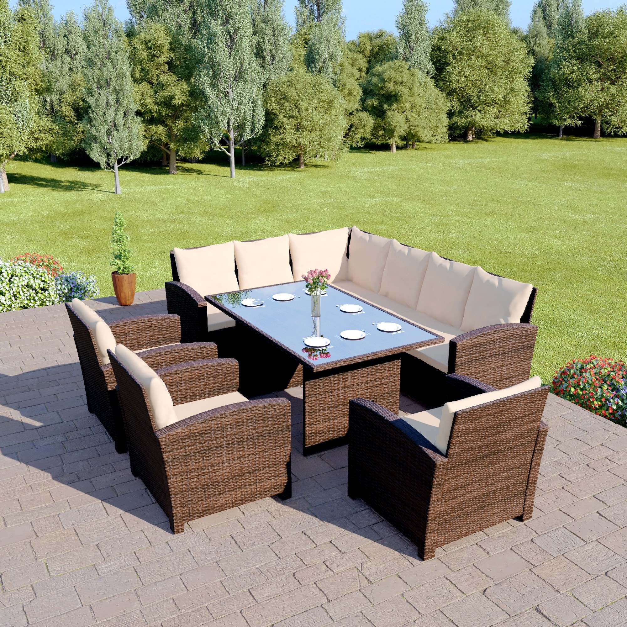 Garden Rattan Sofa Uk Bermuda 9 Seater Garden Rattan Dining Set Brown With Light Cushions