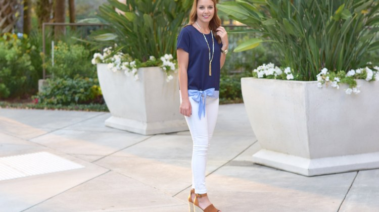 Bow Top & White Skinny Jeans