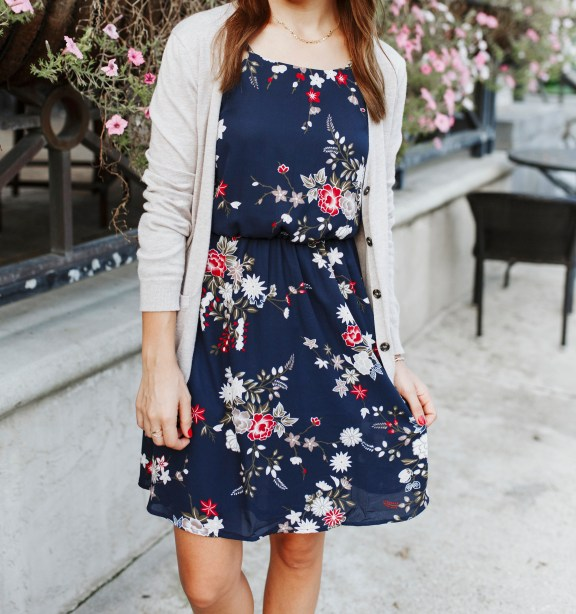 Transitioning to Fall: Floral Midi Dress under $30 by FL fashion blogger Absolutely Annie