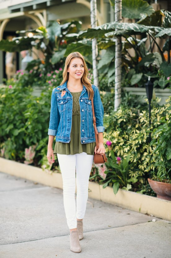 Embroidered Denim Jacket by Florida fashion blogger Absolutely Annie