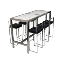 High Bar Table & 6 Stools Black (Set)