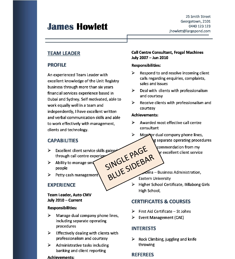 ideal resume sample