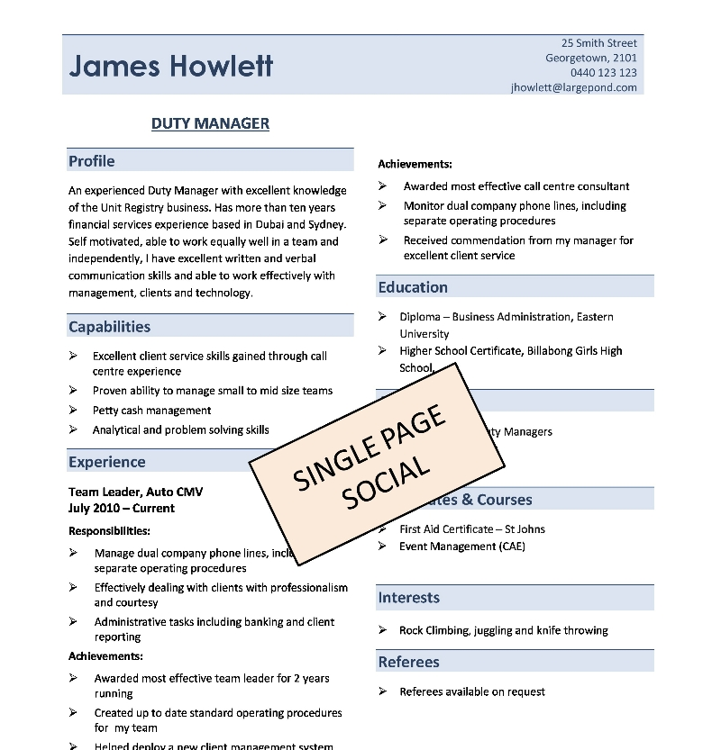 Sample One Page Resume Format Resume Format - examples of one page resumes