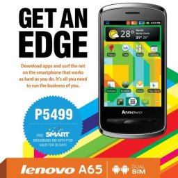 Lenovo A65 is Dual SIM, Android 2.3, bigger steal at P5,499