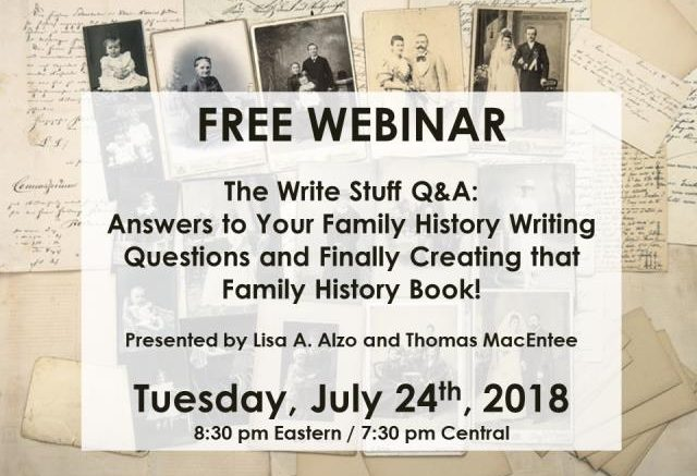 FREE WEBINAR on FINALLY Creating that Family History Book