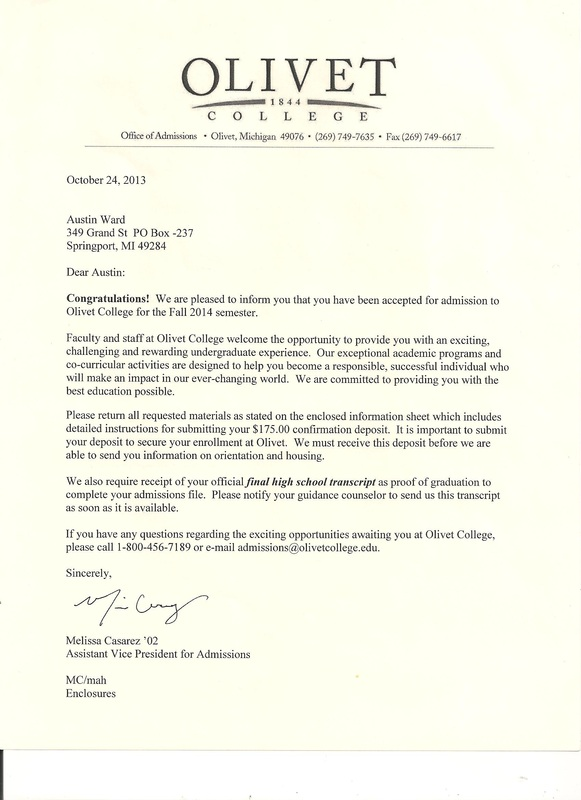 College Acceptance letters - Austin Ward - college acceptance letters
