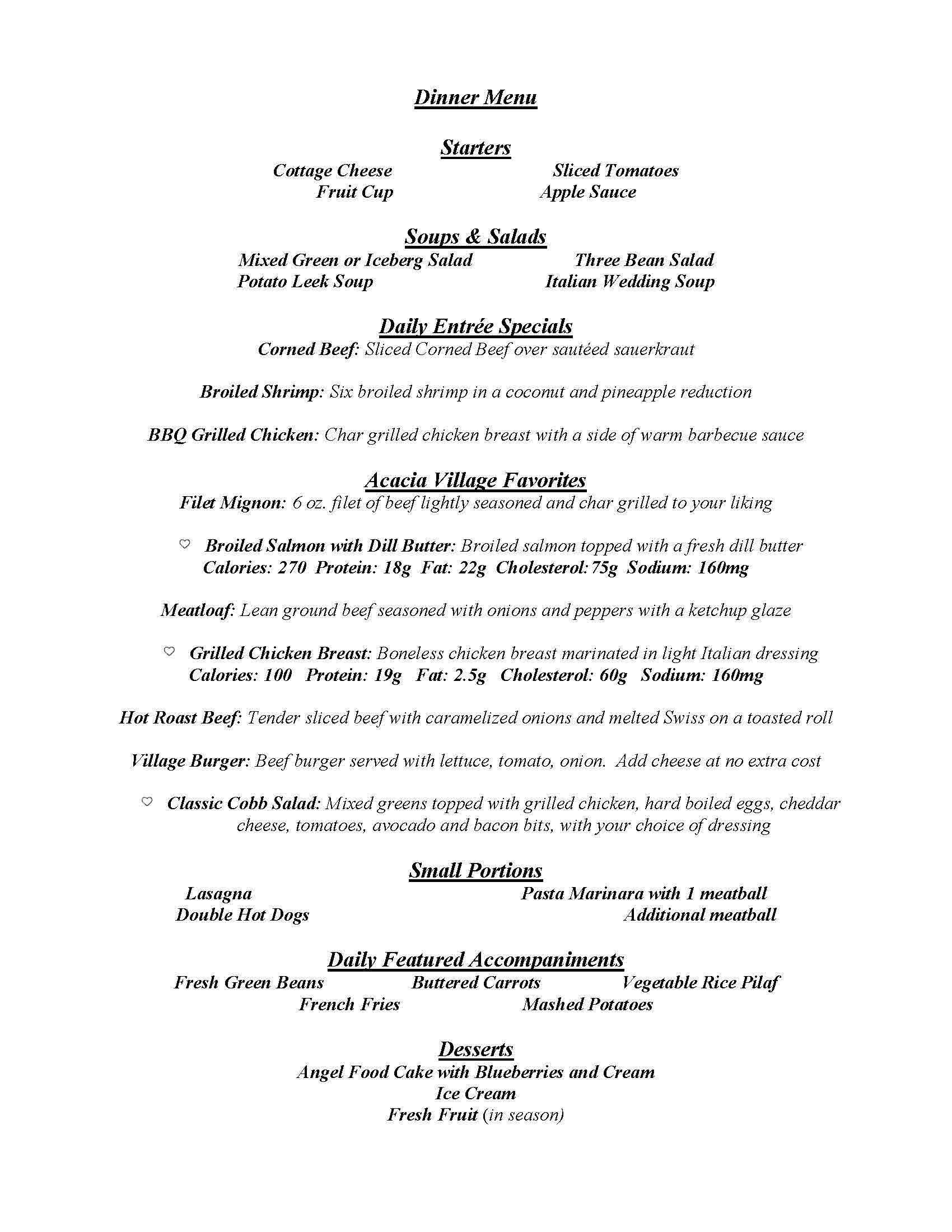 Dining Menu Gourmet Dining At Acacia Village A Senior Living Retirement Facility