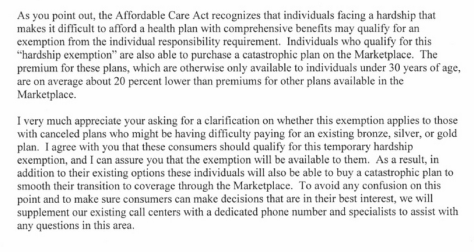 Excerpt from Sebelius letter to senators