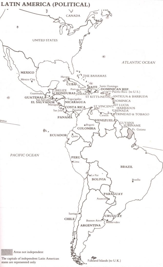 Untitled Document - latin america blank map