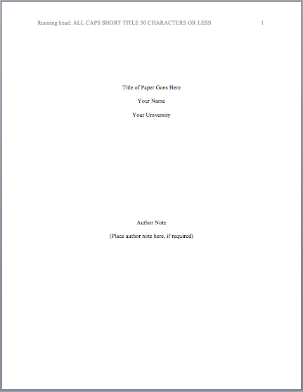 apa title page template 6th edition