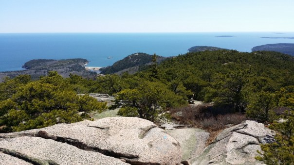 The views from the Champlain South Ridge Trail are toward Sand Beach, Beehive and Otter Cliff with Baker Island in distance.