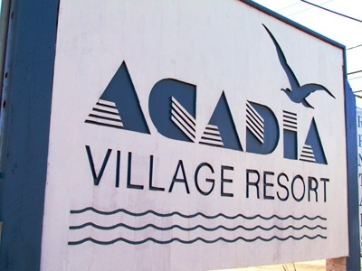 Acadia Village Resort Sign