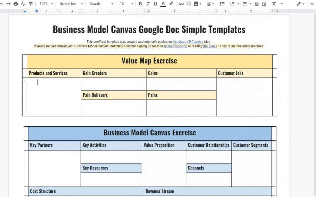 Business Model Canvas and Value Map Google Doc Templates - acadicus