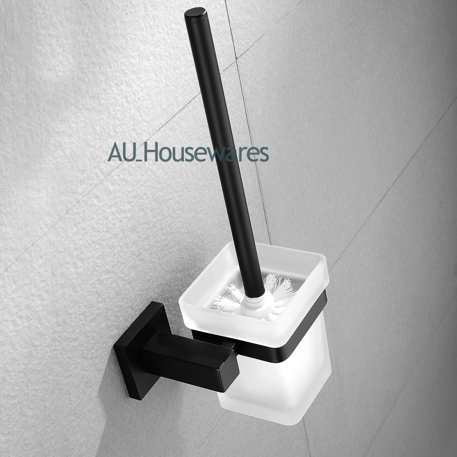 Black Ceramic Toilet Paper Holder Black Square Bathroom Accessory Sets Towel Rack Rail Glass