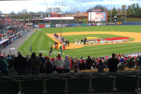 The Reading Fighting' Phils and the Portland Sea Dogs line up for the National Anthem prior to the opening game on April 9, 2016. Photo by Ariane Cain