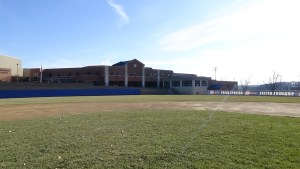 The view from the pitcher's mound, looking towards the outfield wall at Exeter's varsity baseball field. (Photo: Amanda Cain)
