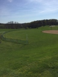 The temporary fence constructed for the softball team each season. (Photo: Ariane Cain)