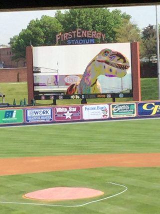 Collin the velociraptor from the Reading Public Museum entertained the students on the field during the pre-game on My 26, 2016. (Photo by Ariane Cain)