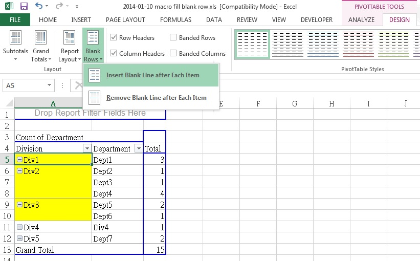 Excel Fill Blank Rows or blank Cells in inactive Pivot Table - pivot table in excel