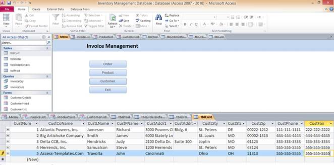 inventory management template access 2007