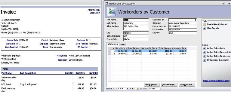 Access Templates Work Orders Invoice Services Management Database - work templates