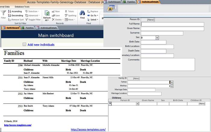 Microsoft Access Family Tree Genealogy History Templates Database - family tree example