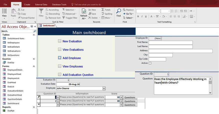 Access Employee Performance Evaluation Form Templates Database For