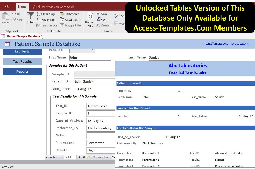 Laboratory Information System Database Management In Access - information templates