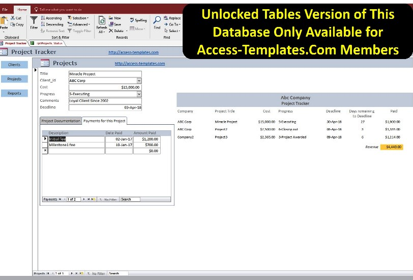 Project Management Tool With Time And Payment Tracker Access - using access for project management