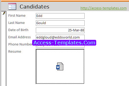Microsoft Access Templates Applicant Tracking System for Recruitment