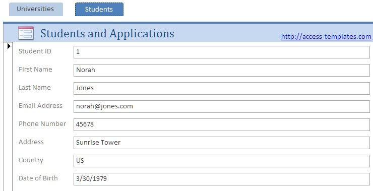 Microsoft Access Templates Online Registration Form Database for Student
