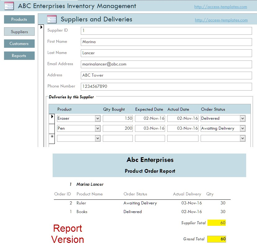 Inventory Management System for Small Business in Access Database - inventory management template