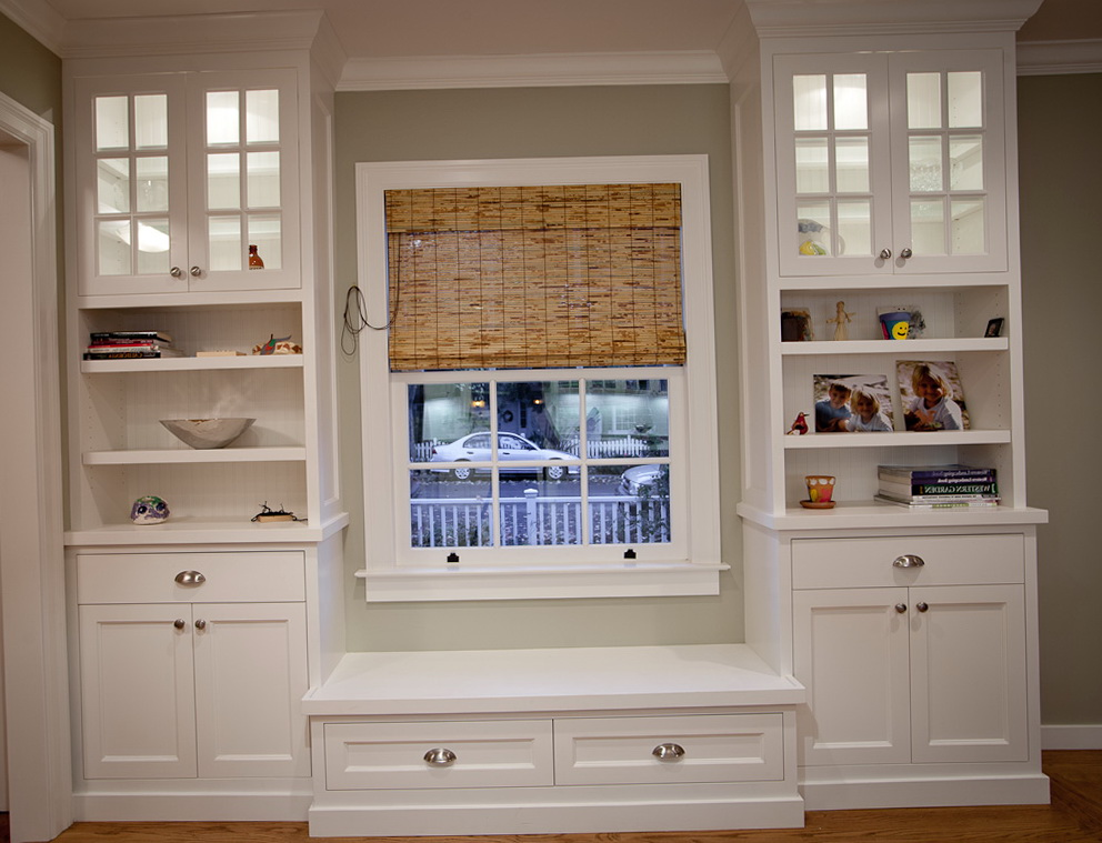 Glass Dresser Ikea Built In Bookcases Around Window | Home Design Ideas
