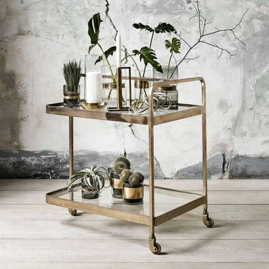 Servierwagen Gold Brass 3 Wheeled Trolley From Accessories For The Home
